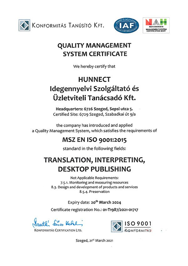Hunnect ISO 9001 Certificate
