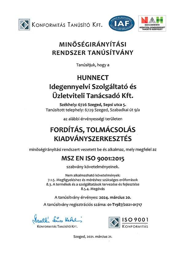 Hunnect ISO 9001 tanúsítvány